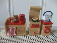 Puppenmöbel für Puppenhäuser - 20-teilige Küche aus Holz mit Zubehör