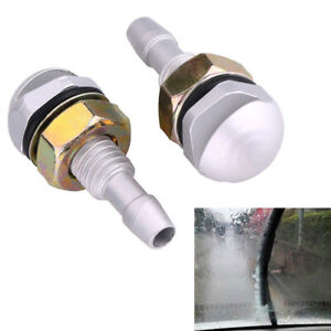 2pcs Universal Aluminum Car Front Window Windshield Sprayer Washer Nozzle Jet G