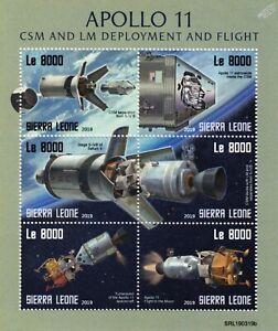 NASA APOLLO 11 50th Anniv. Moon Landing Space Stamp Sheet #2 (2019 Sierra Leone)