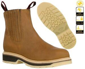 Men Honey Brown Work Boots Genuine Leather Soft Toe Slip Resistant Botas Trabajo