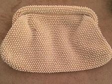Vintage Lumured Corde Bead Off White Clutch Purse