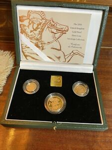 UK 2000 Gold Proof 3-Coin Sovereign Set Double/Full/Half Sovereigns as Issued