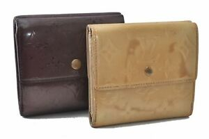 Authentic Louis Vuitton Vernis Wallet Yellow Purple 2Set LV B1225