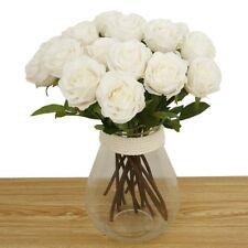 8 pc White Artificial Flowers, Silk Artificial Rose Flowers Home decor wedding