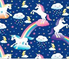 "Unicorn with Rainbows  Fleece Fabric - 60"" Wide - Style# 4328"
