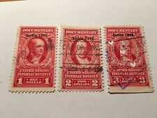 Us Stamp Revenue Documentary Scott #R498 R499 And R500