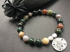 Natural Indian Agate Stretch Bracelet With Tibetan Flower And Love Hearts