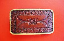 VINTAGE shambu latón macizo hecho a mano piel Hebilla De Cinturón