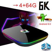 Newest 6K 4+64GB Q Plus Android 9.0 Quad Core TV Box WIFI 3D USB3.0 Media Player