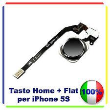 TASTO HOME BUTTON COMPLETO FLAT FLEX  IPHONE 5S BOTTONE NERO BLACK