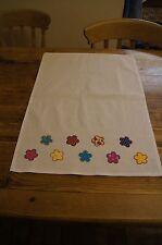 Handmade shabby chic decoratred tea towel with bright flowers