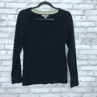 Banana Republic Womens S V Neck Extra Fine Merino Wool Sweater Slim Fit Black