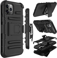 Black Heavy Duty Combo Holster Belt Clip Kickstand Case Cover For Mobile Phones