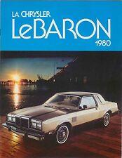 CHRYSLER LEBARON Hardtop berlina wagon 1979-80 originale canadese BROCHURE DI VENDITA