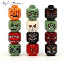 RARE 12 LEGO MINIFIG HEAD LOT Halloween Monster/Alien/Pumpkin/Troll/Devil/Zombie