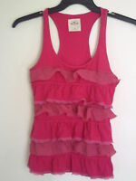 Hollister Womens Girls   CAMI Ruffle Lace Tank Top Shirt  Fuchsia  Sz Small