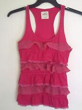 Hollister Womens Girls   CAMI Ruffle Lace Tank Top Shirt  Fuchsia  Sz Small