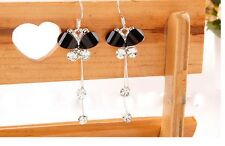 Silver tone black resin crystal butterfly long earrings