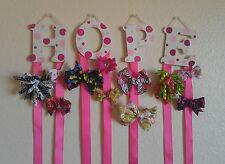 Custom Pink & White Monogram Hair Bow & Barrette Holder