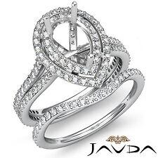 Diamond Engagement Ring Pear Semi Mount Bridal Set 18k Gold White Band 2.2 Ct.