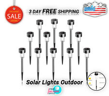 Solar Lights Outdoor Stainless Steel Waterproof NEW Outdoor Lights 12 Pack LED