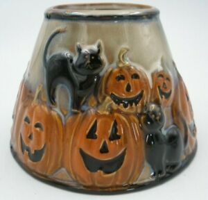 """Yankee Candle Retired Halloween Pumpkin& Black Cat Candle Shade Topper 4 3/4"""""""