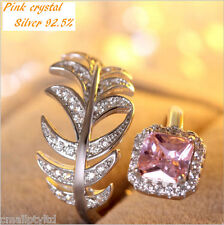 Pink crystal  feather style Sliver 925 ring coated W/Rhodium(White Gold)