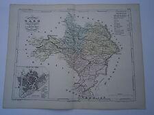 Carte 19° 1852  couleur atlas Malte brun Département du Gard plan de Nimes