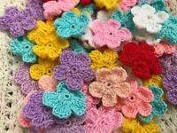 Daisies Crochet Flowers Summer Handmade Applique Embellishments Craft 5 Petal
