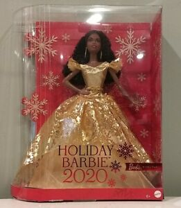 2020 Holiday Signature African American Barbie Doll Mattel New Damaged Box