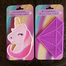 2 Silicone Makeup Brush Cleaner Pad Diamond & Unicorn Shaped pads w Suction cup