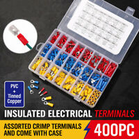 400Pcs Electrical Cable Wire Connectors Assorted Insulated Crimp Terminals Kit