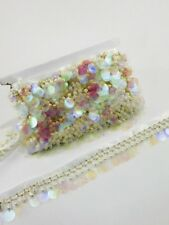 Stunning Beaded fringe with sequin. Pearl Fringing Trim on Ribbon, Bridal, party