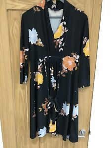 French Connection Black Floral Dress Size 12