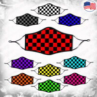Checkered 3D face mask -Flag,Car race ,Skater -Reusable& Washable- Kids & Adults
