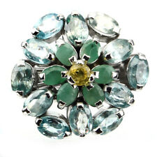 Beauteous Blue Zircon Emerald Sapphire 925 Sterling Silver Flower Ring Size 8.5