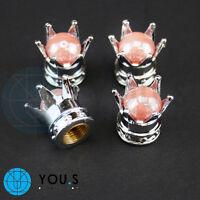 2 x Kronen Ventilkappe in Chrom Look mit rosa Perle Dichtung für ROLLER MOTORRAD