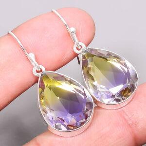 """Ametrine Gemstone Handmade 925 Sterling Silver Jewelry Earring 1.56"""" T969"""