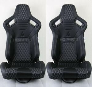 2X TANAKA PREMIUM BLACK CARBON PVC LEATHER RACING SEAT + WHITE STITCH FOR NISSAN
