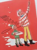 UNUSED Vtg ETHNIC FATHER & SON Hang CHRISTMAS LIGHTS Embossed 50s GREETING CARD