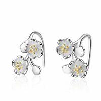Damen Ohrringe Silber 925 Ohrstecker Kirschblüten Blume Geschenk Women's earring