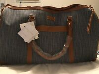 $280 Adrienne Vittadini Denim Blue-jean Getaway Canvas Duffle Travel Bag NWT