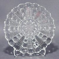 Vintage Small Clear Bubble Glass and Stripe Lines Trinket Tray or Candy Dish