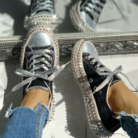 Women Leopard Rivet Embellished Lace Up Canvas Shoes Casual Mid Heel  gb
