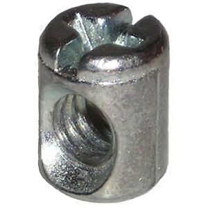 "1/4""-20 Thread Cross Dowel Barrel Nuts 3/8"" Diameter x 1/2"" High Die Cast Offset"
