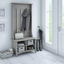 Rustic Gray Wooden Hall Tree Coat Rack Hat Hooks Storage Stand Entryway Bench