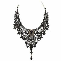 Gothic Victorian Black Lace Choker Necklace Metal Cameo Jewel Steampunk Cos U5F4