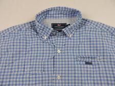 Vineyard Vines Harbor Shirt Men's Long Sleeve Shirt Nylon Medium Blue Check