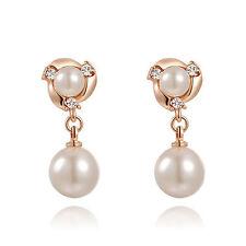 BRIDAL PEARL GOLD Diamanté/Crystal/Cubic Zirconia Pave Drop Earrings -UK SELLER
