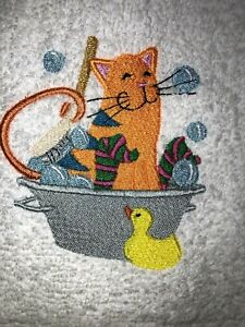 Embroidered White Bathroom  Hand Towel Cat in Bath Tub with Ducky HS1368
